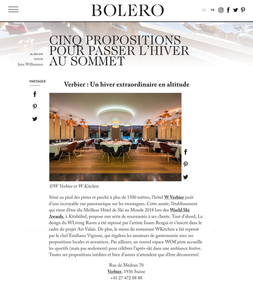 press article Bolero magazine valais W Verbier marriott jasm 1 jasm1 jasm one issam rezgui sion suisse graffiti street art design amazing best of the world ski hotel