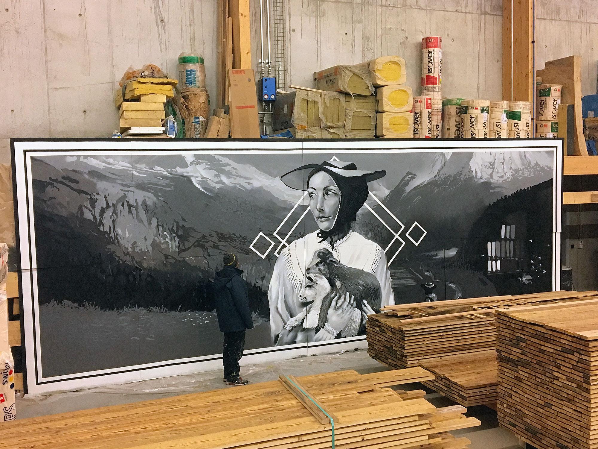 rosalp luxe verbier valais suisse jasm1 jasm one noir et blanc valaisanne chèvre paysage vallée detail graffiti street art urban peinture big wall façade