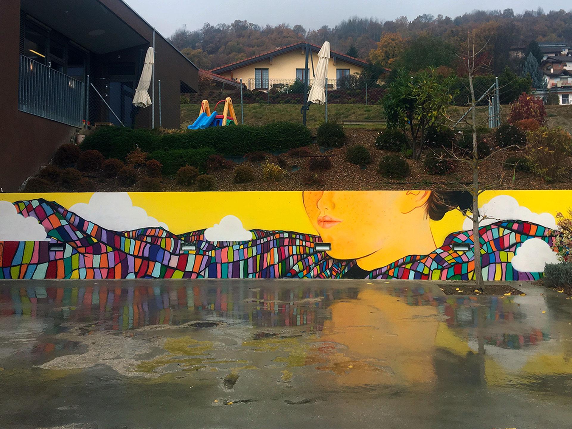savièse uape ecole des peintres de savièse femme multi coloro couchée enfant jaune village valais suisse traiditonnel peinture graffiti street urban art issam rezgui jasm1 jasm one
