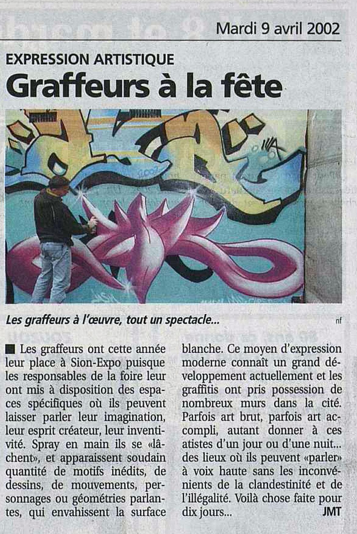 article de presse le nouvelliste valais jasm 1 jasm1 jasm one issam rezgui sion suisse graffiti street art WGA walliser graffiti artist sion expo