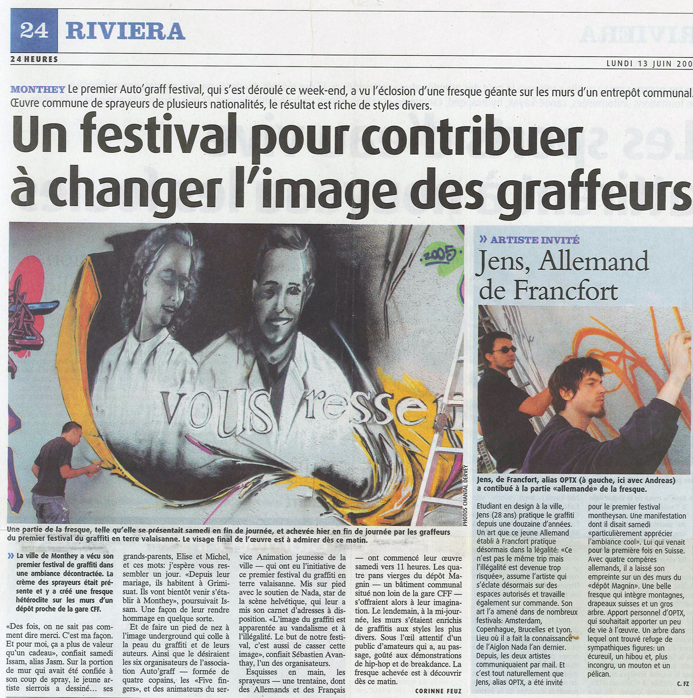 festival graffiti monthey jasm1 jasm one article presse 24 heures riviera five fingers nada on suisse switzerland swiss best artist artiste graffiti urban street art