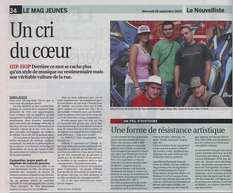 article de presse du nouvelliste valais fanny clavien uka valon ferdi jasm 1 jasm1 jasm one issam rezgui sion suisse graffiti street art WGA walliser graffiti artist