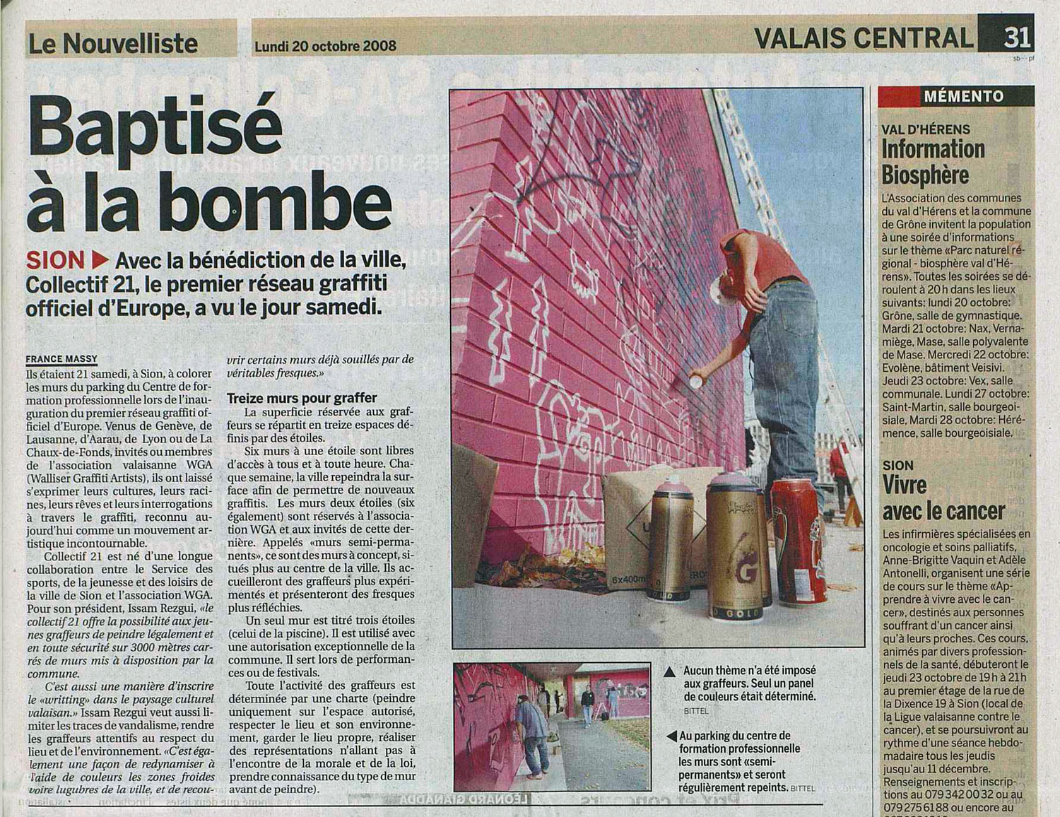 press article du nouvelliste valais collectif 21 jasm 1 jasm1 jasm one issam rezgui sion switzerland graffiti street art legal network