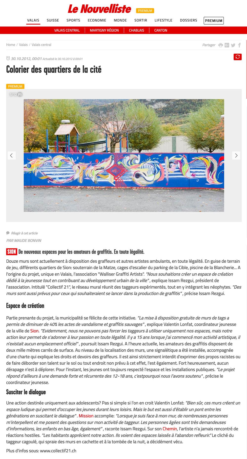 article de presse le nouvelliste valais sion jasm 1 jasm1 jasm one issam rezgui sion suisse graffiti street art WGA walliser graffiti artist réseau graffiti légal collectif21 collectif 21