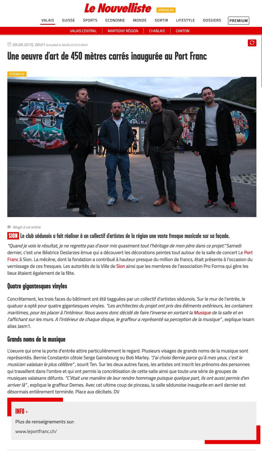 article de presse le nouvelliste valais sion jasm 1 jasm1 jasm one issam rezgui sion suisse graffiti street art WGA walliser graffiti artist le port franc