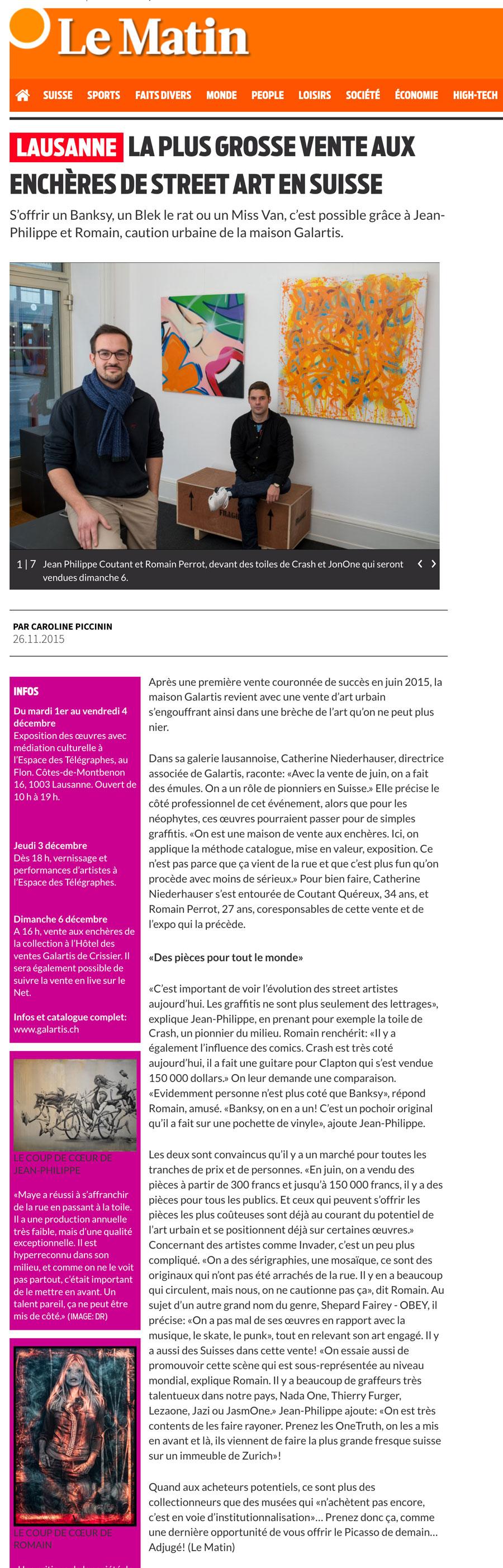 article de presse le Matin journal lausanne vente aux enchères jasm 1 jasm1 jasm one issam rezgui vaud suisse graffiti street art galartis
