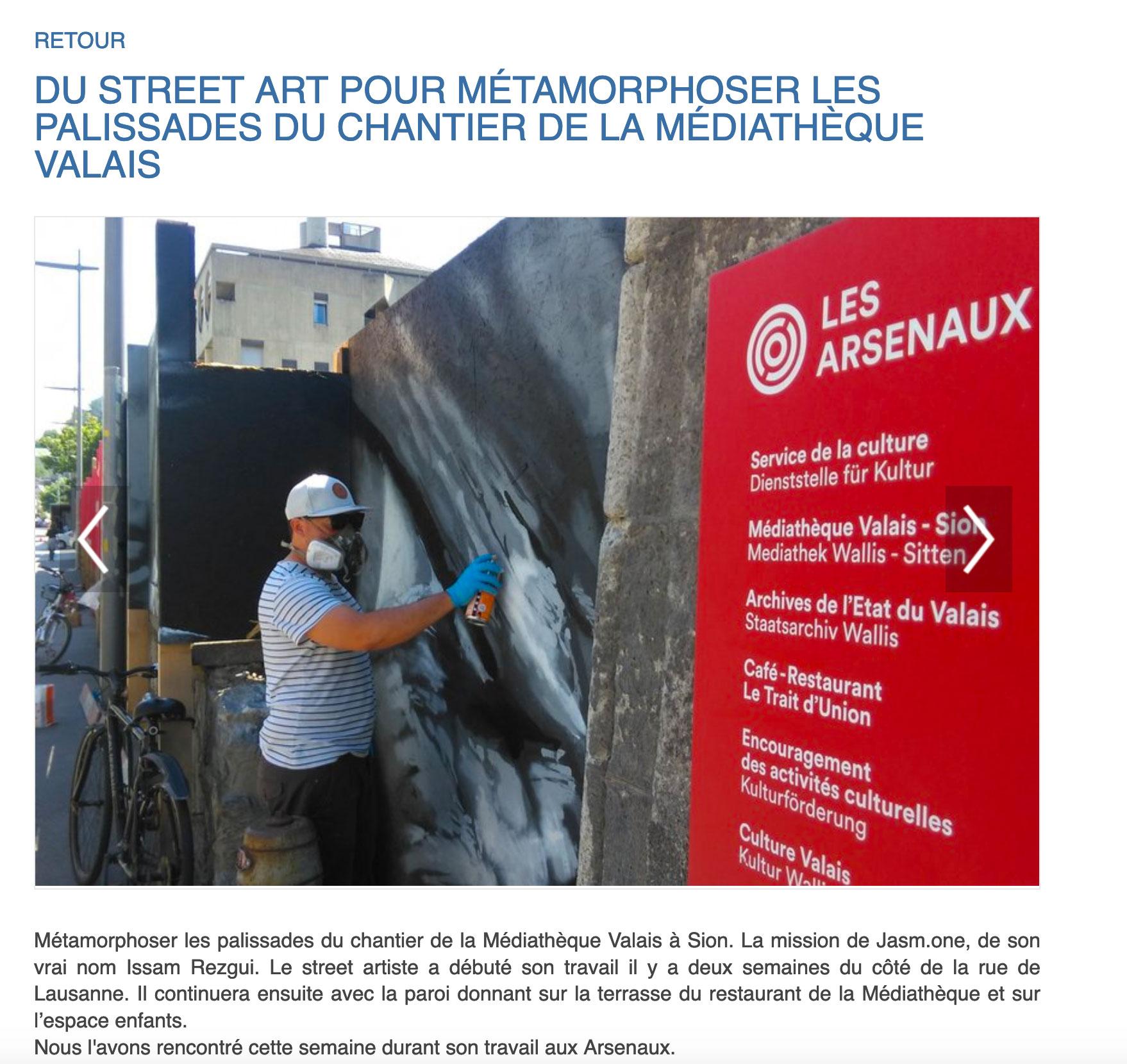 article de presse radion rhone fm jasm 1 jasm1 jasm one issam rezgui graffiti street art sion valais suisse médiathèque arsenaux